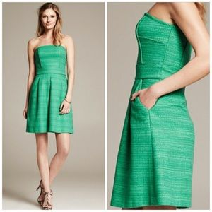 NWT Banana Republic Kelly Green Tweed Pocket Dress